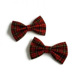 handgemaakte haarstrikjes van Schotse Ruit Clan Macqueen setje van twee