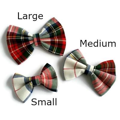 handgemaakte haarstrikken in rood witte schotse ruit in de matelen large, medium en small